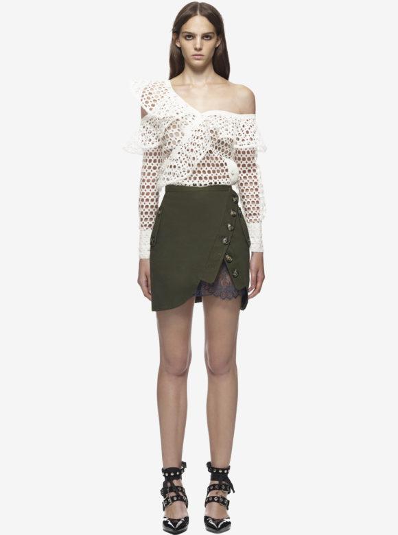 Lace Frill Shirt & Utility Mini Skirt