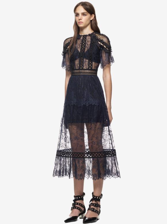 Frill Shoulder Fine Lace Dress