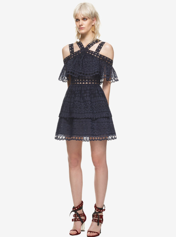 Embroidered Tiered Mini Dress