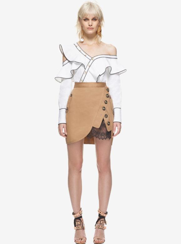 Silk Cotton Frill Shirt & Trench Mini Skirt